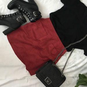Faux suade mini skirt